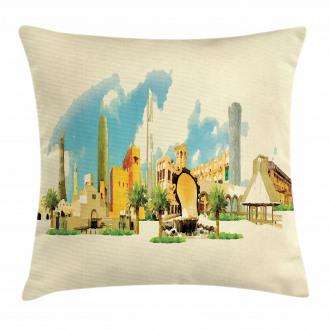 Doha Watercolor Panorama Pillow Cover