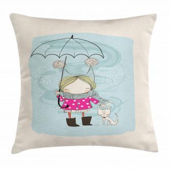 Little Girl Winter Dog Pillow Cover
