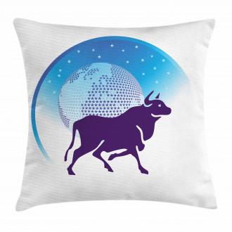 Globe Stars Bull Pillow Cover