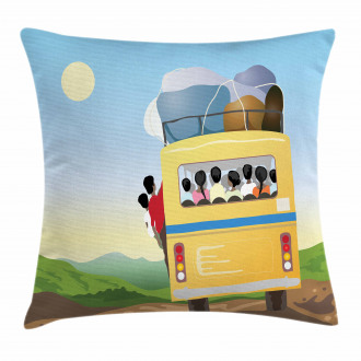Crowded Yellow Bus Pillow Cover