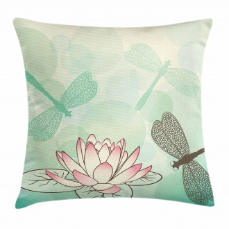 Exotic Lily Dragonflies Pillow Cover