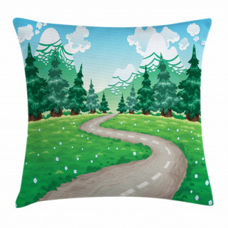 Pathway among Pine Trees Pillow Cover