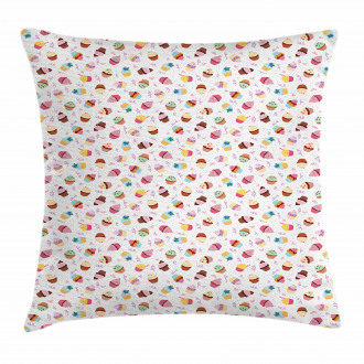 Creamy Colorful Cupcakes Pillow Cover
