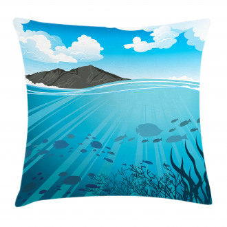 Fishes Sea Mountain Pillow Cover