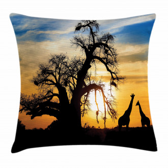 Giraffes Baobab Tree Pillow Cover