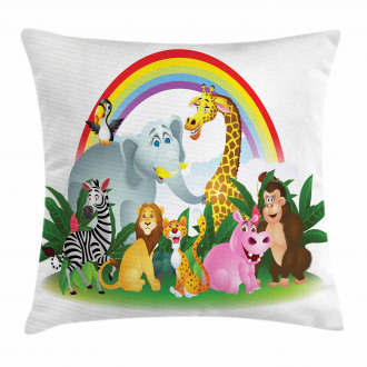 Animals Under Rainbow Pillow Cover