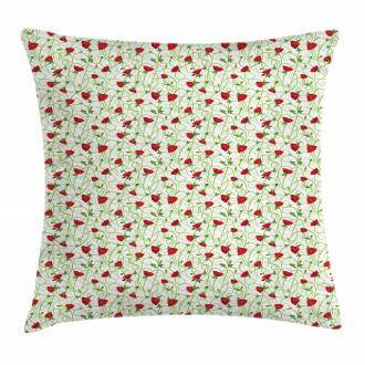 Twiggy Poppy Flowers Pillow Cover