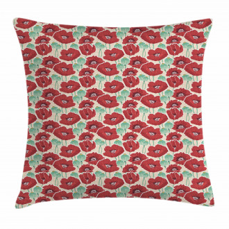 Watercolor Effect Poppy Pillow Cover