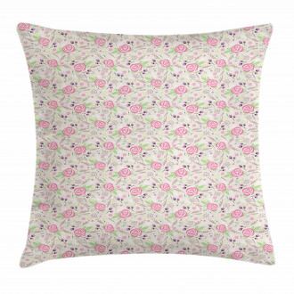 Silhouette Rose Buds Pillow Cover