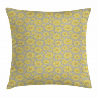 Doodle Yellow Petals Pillow Cover