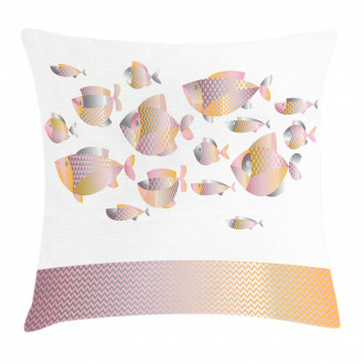 Modern Sea Animal Zigzag Pillow Cover