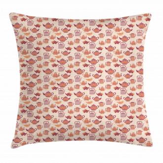 Tea Party Cups Pots Pillow Cover