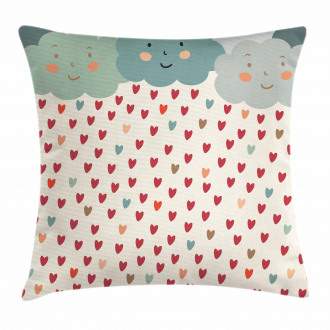 Hearts Raindrops Clouds Pillow Cover