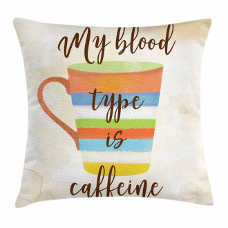 Caffeine Quote Retro Mug Pillow Cover