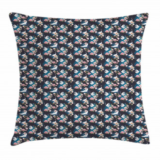 Cranes and Pinky Magnolia Pillow Cover