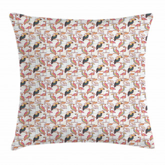 Minimalist Exotic Parrots Pillow Cover