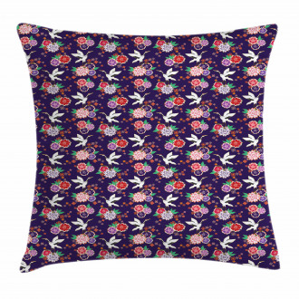 Flying Crane and Flowers Pillow Cover