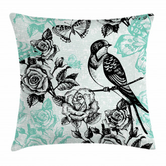 Mockingbird on Rose Tree Pillow Cover