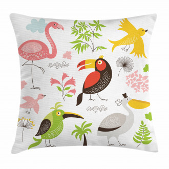 Flamingo and Pelican Pillow Cover
