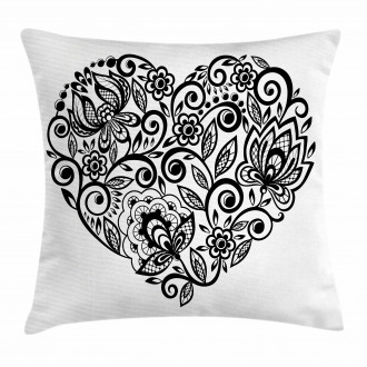 Silhouette Floral Lace Pillow Cover