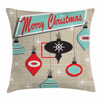 Retro Noel Slogan Pillow Cover