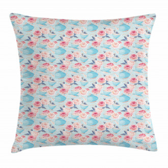 Teapots Roses Pillow Cover