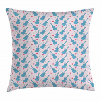 Violin with Notes Pattern Pillow Cover