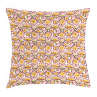 Retro Doodle Flowers Pillow Cover