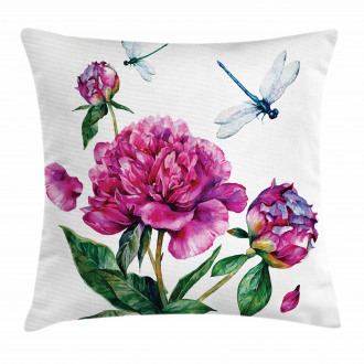 Peonies and Dragonflies Pillow Cover