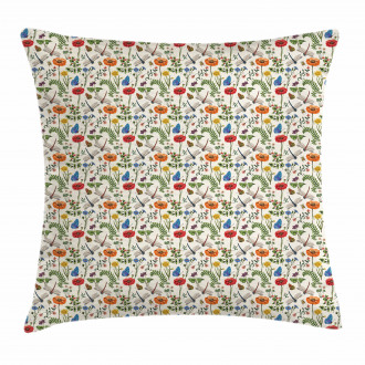 Bugs Plants Flowers Pillow Cover