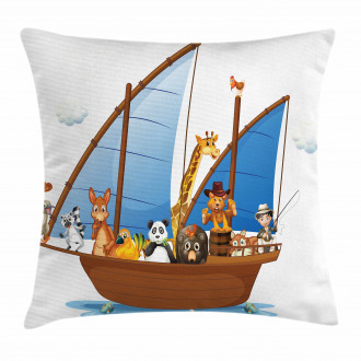 Animal Boat Sailing Pillow Cover