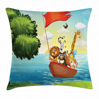 Animals Ark on Shore Pillow Cover