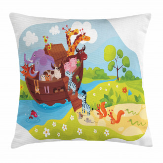 Animals Boarding Ark Pillow Cover