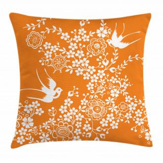 Flowers Birds Pillow Cover
