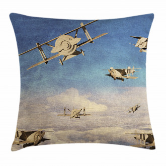 3D Retro Biplanes Pillow Cover