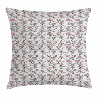 Linear Drawn Blooming Pillow Cover