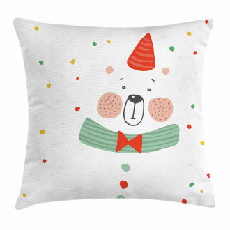 Xmas Bear Party Hat Pillow Cover
