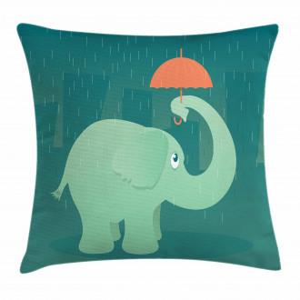 Elephant Holding Umbrella Pillow Cover