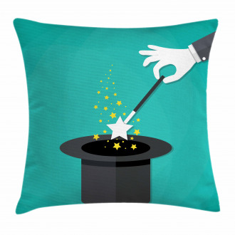 Magician Spell Black Hat Pillow Cover