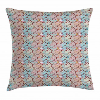 Soft Colored Tangled Lines Pillow Cover