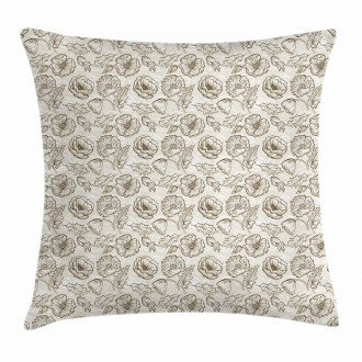 Contour Flowers Curls Pillow Cover