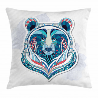 Ornamental Tribal Face Pillow Cover