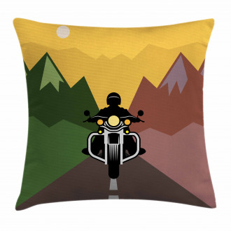 Rider in Mountains Pillow Cover