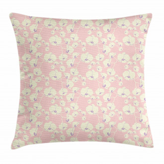 Blooming Nature on Pale Pink Pillow Cover