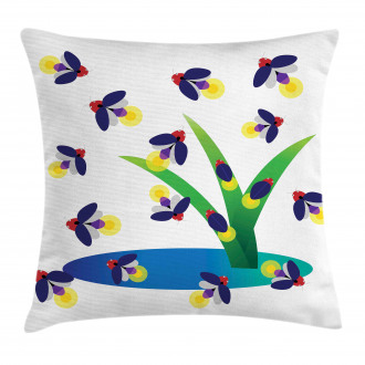 Bugs Flying around Water Pillow Cover