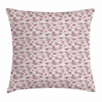 Sketchy Flowers on Soft Pink Pillow Cover