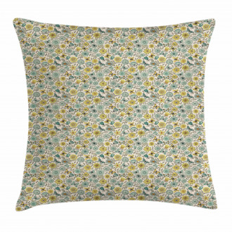 Retro Butterfly Wings Floral Pillow Cover