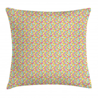 Doodle Style Oval Figures Pillow Cover