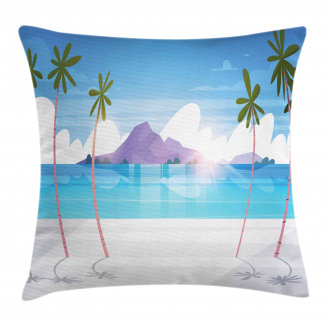 Summer Seaside with Palms Pillow Cover