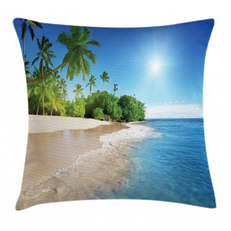 Suuny Ocean Palm Trees Pillow Cover